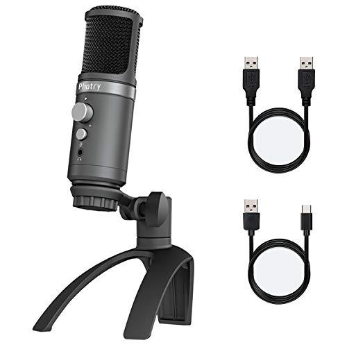 Photry microfono per pc, microfono a condensatore USB, plug & play per telefono cellulare e computer, con treppiede regolabile, adatto per registrazione in studio, streaming, podcasting