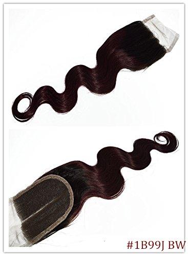 100% cheveux naturels vierges Wave Texture Fermeture Dentelle Suisse sur le dessus 10,2 x 10,2 cm supplémentaire gratuit avec blanchis Couleur 1B/99J