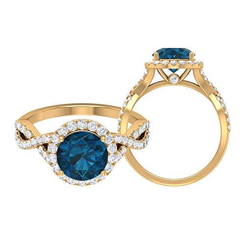 Solitär Halo Ring, 2,76 ct Runde Edelsteine, HI-SI Diamant 8 mm London Blautopas Verlobungsring, Spiralschaft Ring, Gold Seite Stein Ring, 14K Gelbes Gold, Size:EU 68