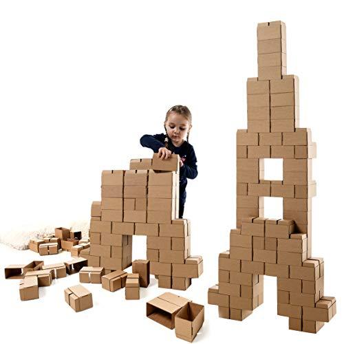 Oferta de GIGI Bloks Bloques de Construcción Gigantes de Cartón Para Niños, Set de Bloques Infantiles de 96 Piezas XL Apilables, Juguetes Montessori de Ladrillos de Construcción Grandes de Tamaño Real