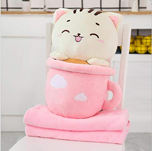 Teacup Cat Cartoon Animal Doll Pillow Three-In-One Air Conditioning Blanket Office Nap Cat Cushion,Pink,50X30CM+1.7M blanket