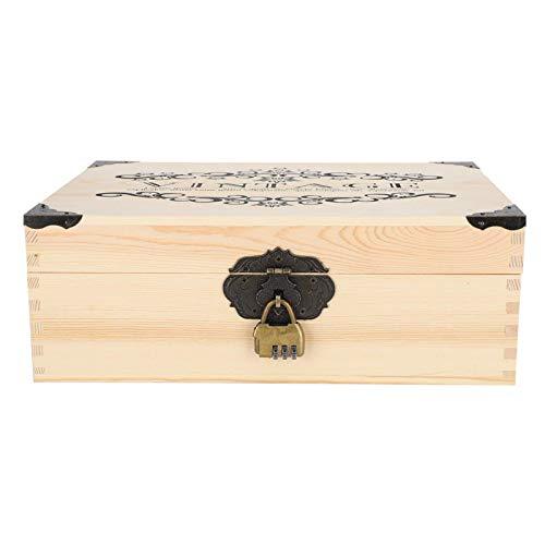 Cocosity Caja de Almacenamiento de cosméticos, Madera Duradera, Simple y Resistente al Desgaste con Cerradura Joyero Retro, Reloj de Anillo para Collar de Documentos