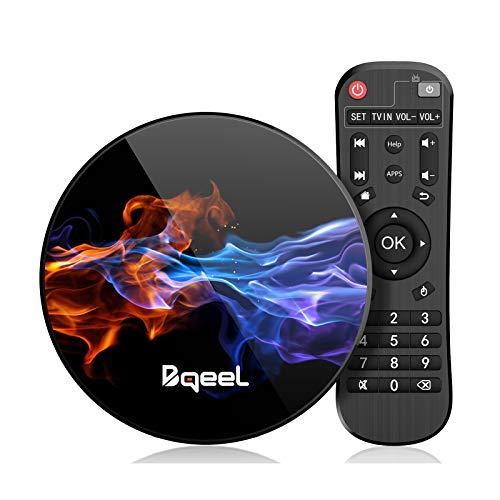 Última 9.0 TV Box 【4GB RAM+128GB ROM】 Bqeel Android TV Box RK3318 Quad-Core 64bit Cortex-A53 Soporte 2k*4K WiFi 2.4G/5G,BT 4.0 USB 3.0 Smart TV Box