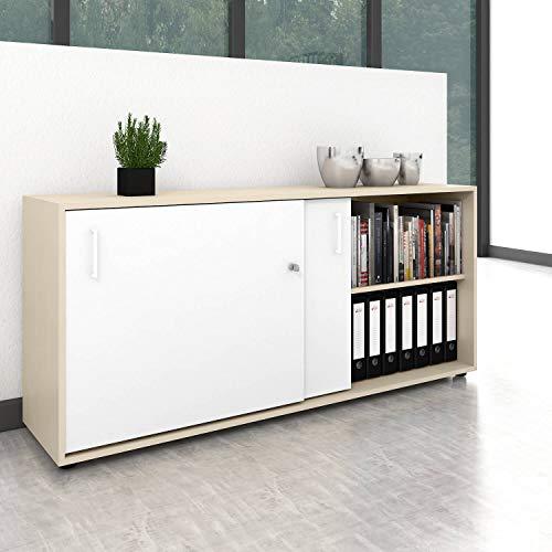 Schiebetürenschrank Sideboard NOVA 2OH 1.640 x 740 mm Ahorn/Weiß