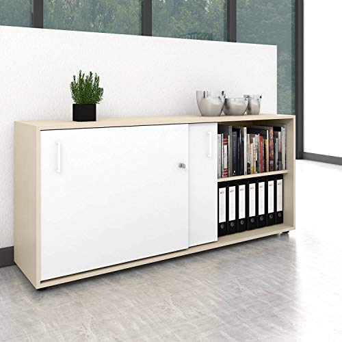 Weber Büro Schiebetürenschrank Sideboard NOVA 2OH 1.640 x 740 mm Ahorn/Weiß