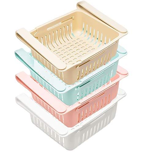 4PCS kühlschrank Schubladen, Einstellbare Lagerregal, Ausziehbare Kühlschrank Partition Layer Organizer, für Gemüse und Obst, Arbeitsplatte aufgeräumt (4)