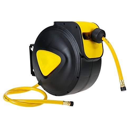 KUNTEC Air Hose Reel Retractable 5/16 Inch x 33 Feet Compressor Water Plastic Spring Driven Swivel Bracket