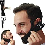 Adjustable Beard Shaping Tool with Comb and Styling Template - Beard Lineup Tool & Edger for Men with Personality - Works with All Electric Trimmers, Razors or Clippers  B0NUS Round-Edge Scissors