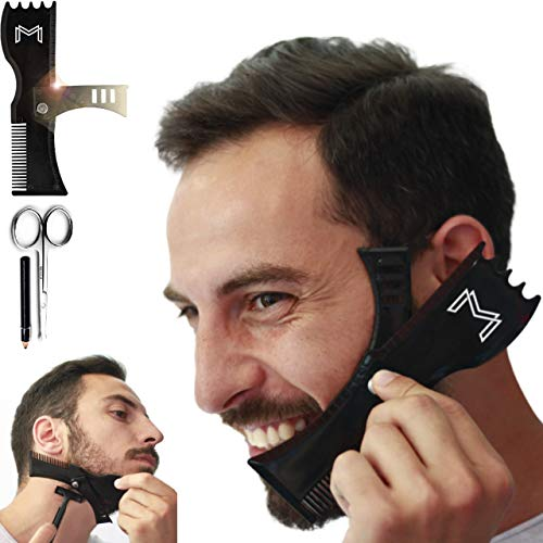 Adjustable Beard Shaping Tool with Comb and Styling Template - Beard Lineup Tool & Edger for Men with Personality - Works with All Electric Trimmers, Razors or Clippers – B0NUS Round-Edge Scissors
