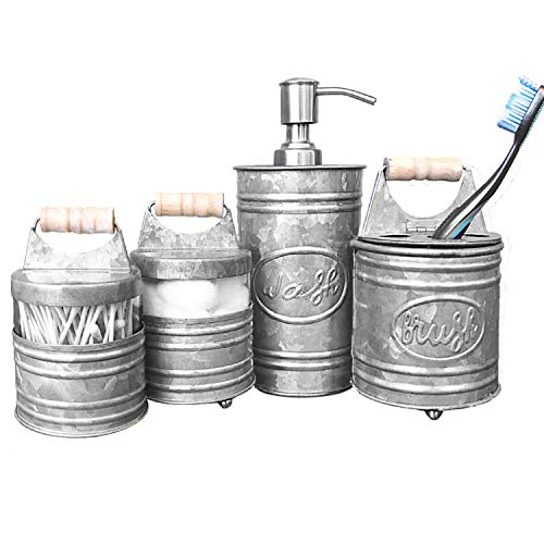 Autumn Alley Rustic Farmhouse Galvanized Bathroom Accessories Set (4 PCS) - Lotion Soap Dispenser, Toothbrush Holder, 2 Apothecary Jars (Qtip Holder) - Rustic Farmhouse Bathroom Decor