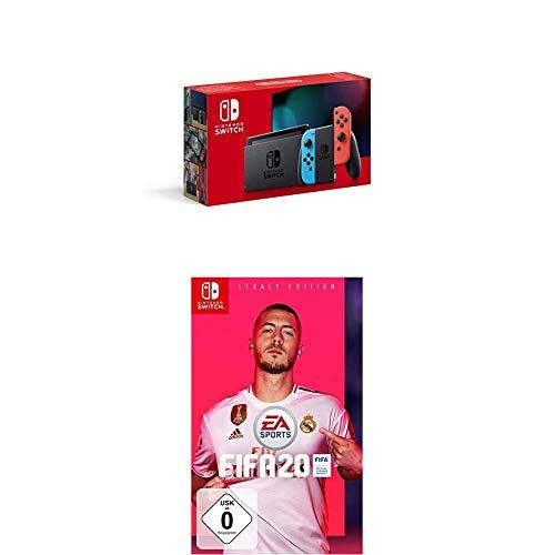 Nintendo Switch Konsole - Neon-Rot/Neon-Blau (2019 Edition) + FIFA 20 - Legacy Edition - [Nintendo Switch]