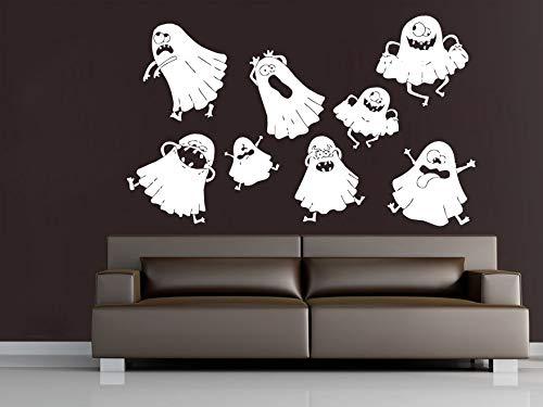 Njuxcnhg Nette Reizende Ghost Halloween Wandtattoos Vinyl Wandaufkleber Home Schlafzimmer Kreative Decor Happy Halloween Party Wand Postercm 113x67cm