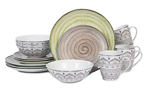 16-Pieces Dinnerware Set, Kitchen Porcelain Plates/ Dishes/ Bowls/ Mugs Service for 4