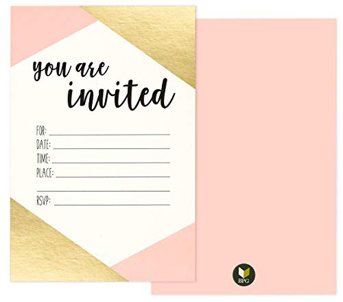 36 Pack Pink and Gold Foil 'You Are Invited' Minimalist Party Invitation Card Set - Shabby Chic, Novelty, Invites for Birthdays, Bachelorette Parties, Envelopes Included, 4 x 6 Inches