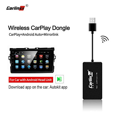 Carlinkit Autokit Wireless Carplay Dongle Compatible with Aftermarket Android Head Unit Version(4.4.2 and Above), Carplay/Android Auto/Mirror Screen