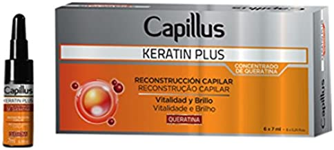 Capillus Keratin Plus - Kit de Ampollas Concentrado de Queratina Reconstrucción Capilar - Paquetes de 6 ampollas x 7 ml - Total: 42 ml