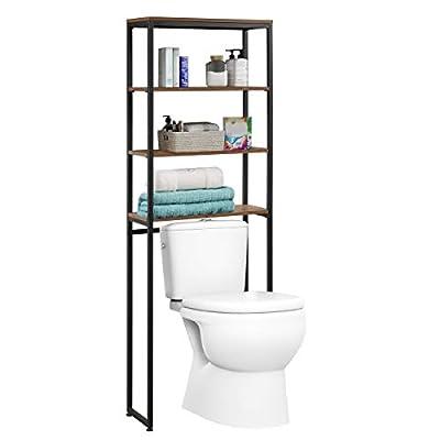 Tangkula Over The Toilet Storage Rack, 4-Shelf Bathroom Organizer, Freestanding Bathroom Space Saver, Multifunctional Toilet Rack (Brown)