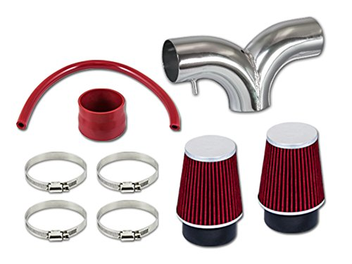 R&L Racing Red Dual Short Ram Air Intake Kit + Filter 02-11 For Ram 1500 3.7L V6 02-07 Ram 1500 4.7L V8 04-10 Dakota 3.7 V6 4.7L V8