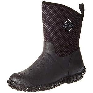 Muck Boot Women's Muckster II Mid Rain Boot, Black/Gray/Roses Print, 10 M US