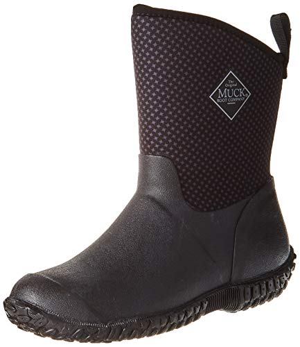Muck Boot Women's Muckster II Mid Rain Boot, Black/Gray/roses print, 8 M US