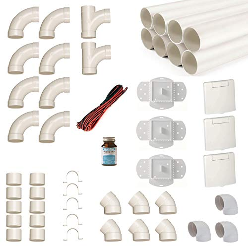 Zentralstaubsauger Einbau-Set für 3 Saugdosen mit Rohren, Fittings und Co - DIY-Montageset für Staubsaugeranlage - Saugdose VEX-S
