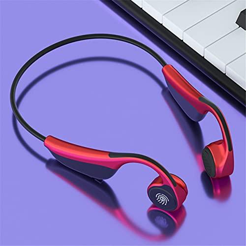 XJPB Auriculares de conducción ósea Auriculares inalámbricos Bluetooth 5.0 Auriculares Deportivos para el oído con micrófono Toque Inteligente Impermeable para Correr Deportes Fitness,Rojo
