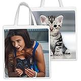 APRIL Bolsas de Tela Personalizada con la Imagen y el Texto Que tu Quieras (2 Caras)