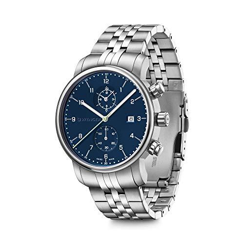 Wenger Urban Classic Reloj cronógrafo para hombre fabricado en Suiza con esfera azul y correa de acero inoxidable plateada 01.1743.124
