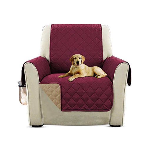 PETCUTE Lujo Cubre para Silla Fundas de Sofa Protector de sofá o sillón, Dos o Tres plazas Vino Rojo Silla