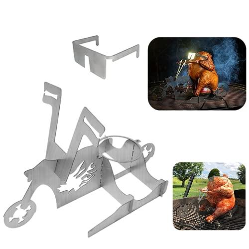 Hühnerständer Schädel Motorrad Bierdose Hühnerhalter BBQ Werkzeug Edelstahlgestell mit Gläsern Für Bräter Grill Grillofen Outdoor Camping Küchenbedarf