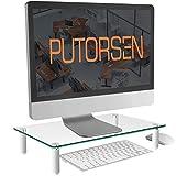 Putorsen® soporte de monitor pc - elevador de monitor 8cm de altura para laptop, ordenador, pc, impresora, soporte vidrio templado ergonómico de escritorio para monitor