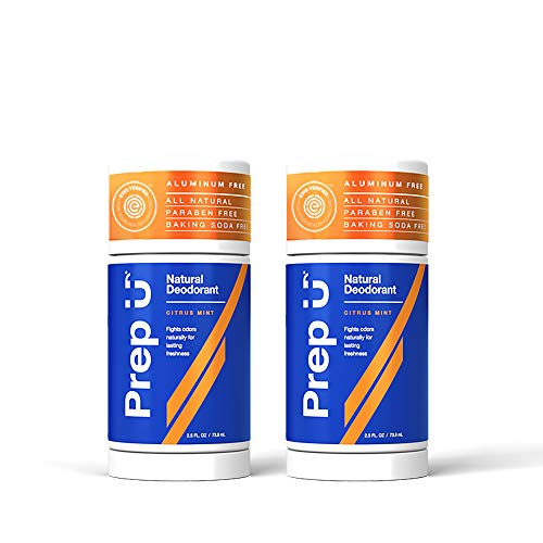 Prep U | Aluminum-Free Natural Deodorant (2-Pack) for Boys, Teens, Men | All-Natural Dermatologist-Tested Odor Protection | Clean, Safe, Effective Ingredients for Active Guys | Citrus Mint - 2.5 fl Oz