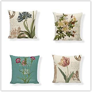 Set of 4,British Retro Vintage Postage Stamp Throw Pillow Covers,Rose,Tulip,Orchid,Blossoms with Classical Letters & Postmark,One-Side Printed,Cotton Linen,18x18 Inch(45x45cm)