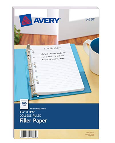 Avery Mini Binder Filler Paper, College Ruled, 5-1/2