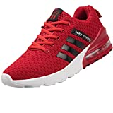 PWKSELW Men's Sports Shoes Lightweight Air Cushion Gym Fashion Shoes Breathable Walking Running Sports Shoes Red