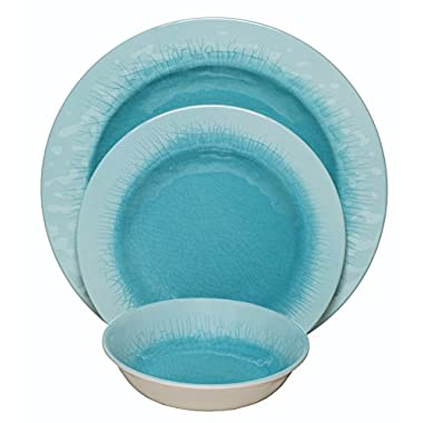 Melange 12-Piece 100% Melamine Dinnerware Set (Crackle Collection ) | Shatter-Proof and Chip-Resistant Melamine Plates and Bowls | Color: Aqua | Dinner Plate, Salad Plate & Soup Bowl (4 Each)