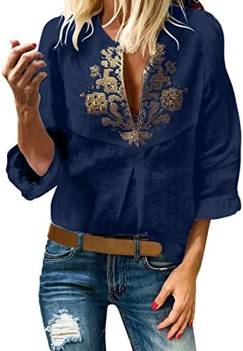 Aleumdr Womens V Neck Boho Embroidered 3 4 Ruffle Sleeve Blouses and Tops Loose Ethnic Style product image