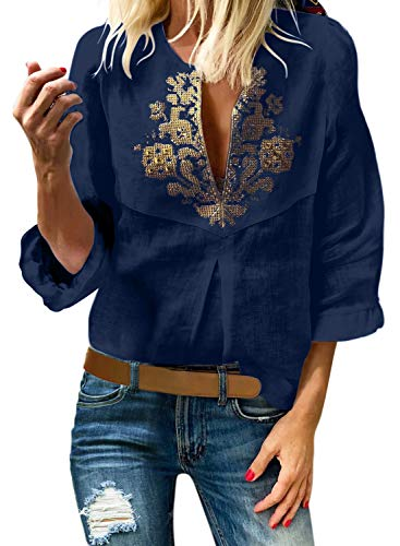 Aleumdr Womens V Neck Boho Embroidered 3/4 Ruffle Sleeve Blouses and Tops Loose Ethnic Style Shirts Blue Large 12 14
