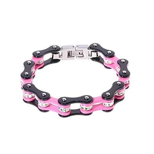 VEUL Cadena de bicicleta de acero inoxidable rosa diamante estilo punk, pulsera de las mujeres, joyería de aleación de la forma de la cadena de la motocicleta
