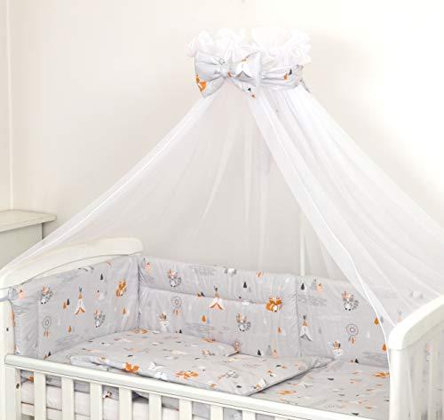 10 Piezas Juego de Ropa de Cama para Cuna Bebé Edredón Dosel Protector (120 x 60 cm, Tipi)