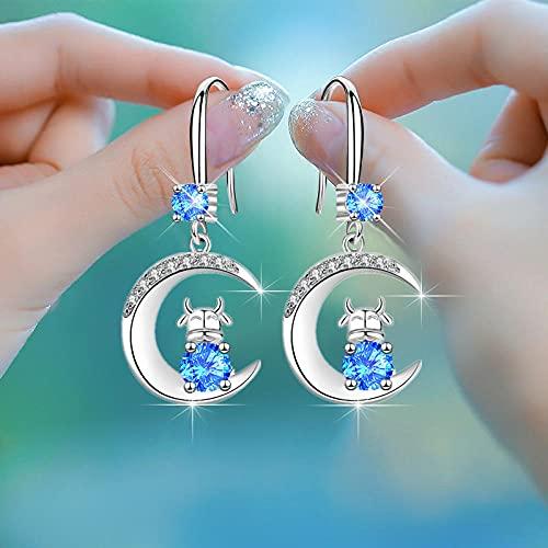 XAOQW 925 Plata de Ley Encantador Encanto Zircon Zodiac Bull Moda Moon Drop Pendientes-Azul
