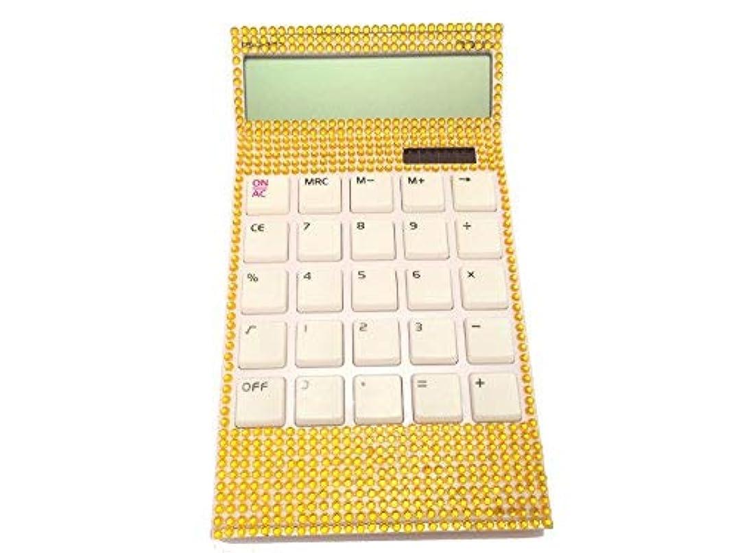 項目少なくとも予測子Blingustyle キラキラ光るクリスタルディアマンテ 12桁 デュアルパワー計算機 自宅やオフィス用ギフト ゴールド