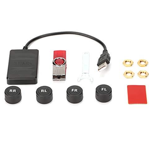 Qiilu Ricevitore TPMS, sistema di monitoraggio della pressione dei pneumatici USB per auto Allarme di monitoraggio TPMS con sensore esterno per navigazione Android