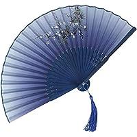 扇子 レディース 中華風クラシカルアートダークプリントレディース扇子、 夏のポータブル冷却ツール、 ゲストギフト (Color : B, Size : 38cm*2)