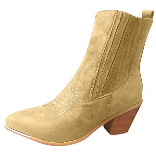 Anliyou Damen Stiefelette Stiefel mit Absatz bequem angenehm Winterstiefel mit Samt künstlich Fellfutter Boots Winterboots mit Blockabsatz Übergangsschuhe warm Hochackige Schuhe
