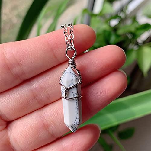 YSJJUSZ Piedras Preciosas Gems Naturales Piedra Colgante Amatista Cuarzo Rosa Collar de Cristal (Metal Color : White Turquoise)