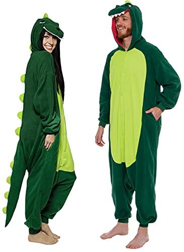 Silver Lilly Unisex Adult Pajamas - Plush One Piece Cosplay Animal Dinosaur Costume (Dinosaur, M) Green
