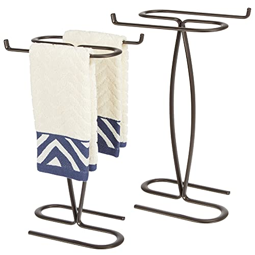 mDesign Decorative Modern Metal Fingertip, Hand Towel Holder Stand - for Bathroom Vanity Countertops to Display and Store Small Guest Towels - 2-Sided, 14' High, 2 Pack - Bronze