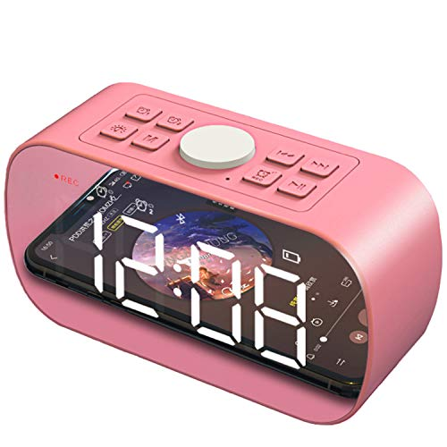 Wireless Bluetooth Speakers Portable Alarm Clock with FM Radio Night Light 5 LED Stylish Mirror Digital Display Sleep Timer with Snooze Function Compatible with iPhone, Samsung and More(Pink)