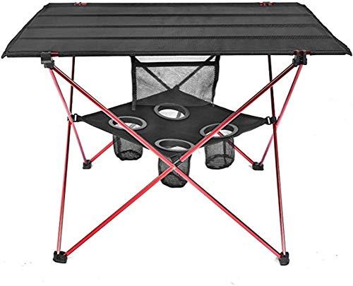 WUHUAROU Mesa de Muebles al Aire Libre Tabla de Camping Plegable roja Luz de Color Peso de Color Ultraligero Mesas de Pesca Mobiliario Plegable Moderno